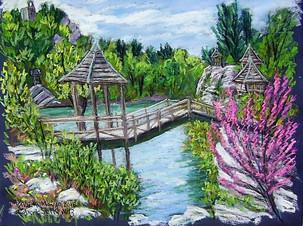 """Mohonk Footbridge, 19x25"""""""