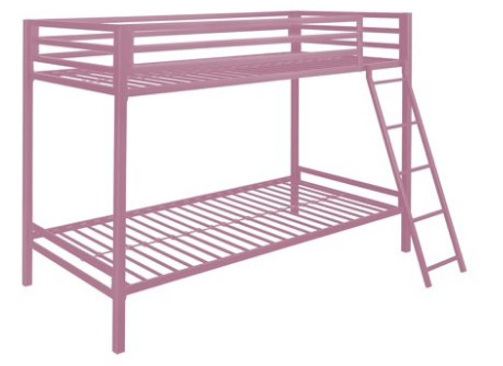 Mainstays Premium Twin Over Twin Metal Bunk Bed Pink