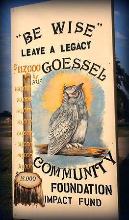 Owl sign-Goessel Community Foundation
