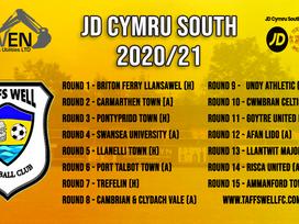 Fixture list 2020/21 for the JD Cymru South
