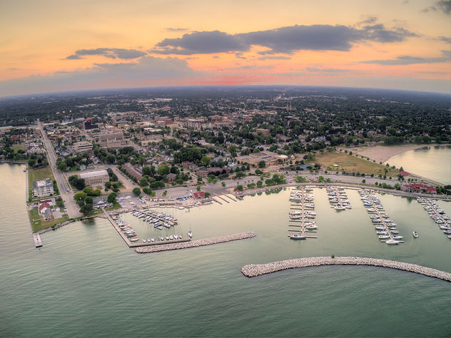 Aerial Sunset View of Sheboygan, Wiscons