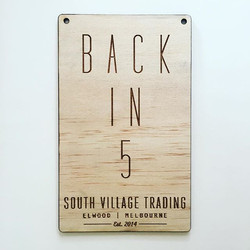 Custom Retail 'Back in 5' sign