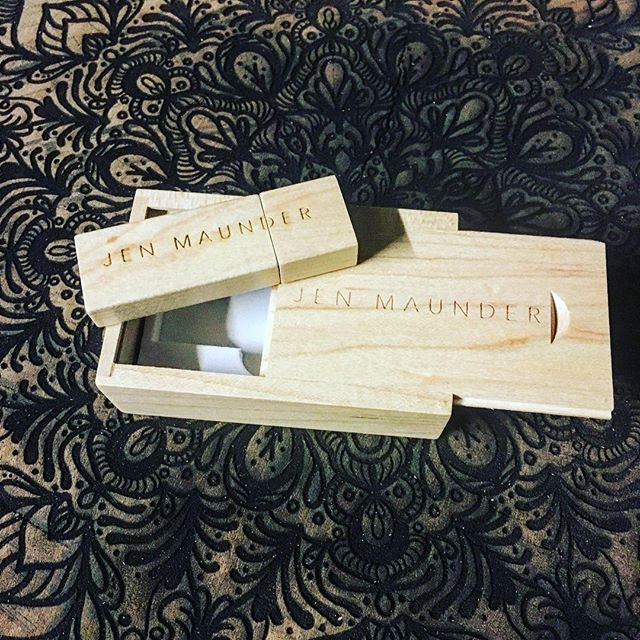 Wooden USB with custom logo etched