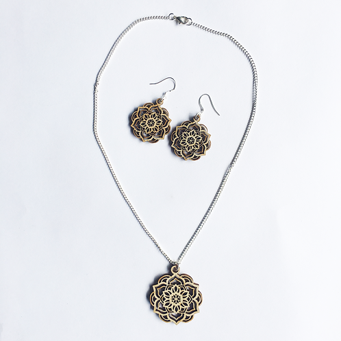 Lotus Mandala Necklace & Earring Set