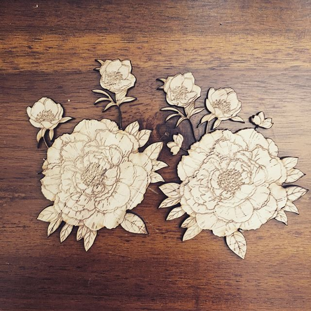 Laser Cut & Etched flowers