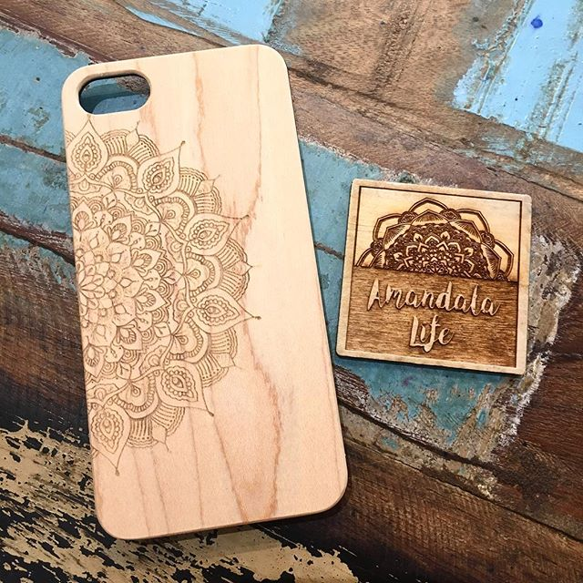 laser etched mandala phone case