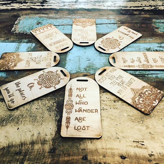 Laser cut and etched luggage tags