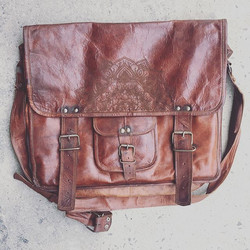 Custom Laser etched leather bag