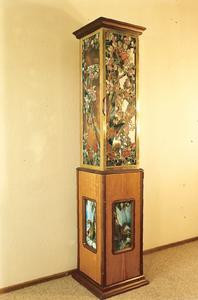 Handmade Stained Glass, Brass, and Wood Clock