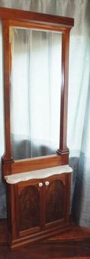 Marble & Mahogany and Walnut Wood Mirror