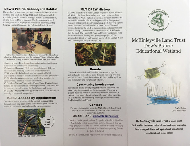 McKinleyville Land Trust Dow's Prairie Educational Wetland brochure design.