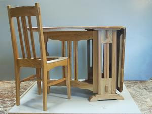 Custom Drop Leaf White Oak and Mahoganay Table and Chairs