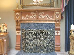 Custom Wood Fireplace Mantle with Real Gold Leaf