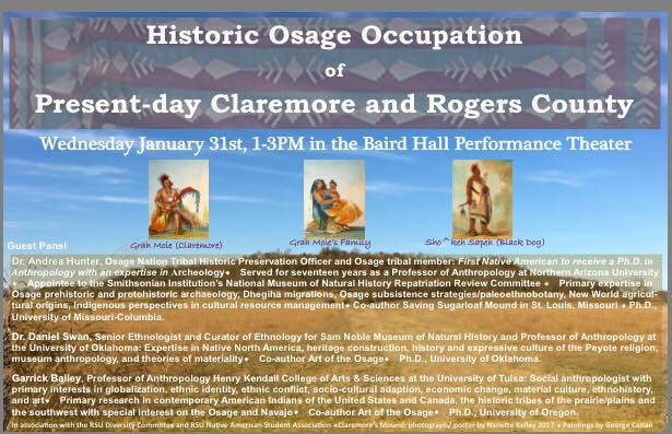 Educational Panel Concept, Coordination, and Event Production & Direction, and poster design by Nanette Kelley. Lecture production was also utilized for Native American Studies Class Curriculum including air dates on RSU Public Television, Claremore, OK.