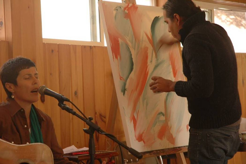 Osage Artist Gathering: Concept, Event Production, & Coordination by Nanette Kelley. Osage artists, musicians, and writers were featured including a live painting performance with artist Yatika Starr Fields and recording artist/ songwriter Marca Cassity. Event in association with the Northern California Osage Committee, Leona Lodge, Oakland, CA, Fall 2013.