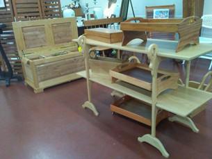 Assorted Wood Butler Trays and Maple Gooseneck Shelf