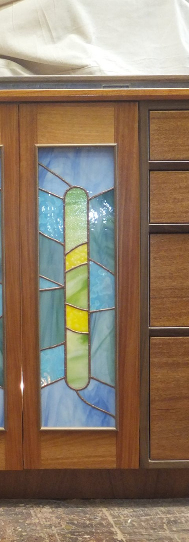 Custom Bathroom Mahogany and Walnut Vanity with Stained Glass