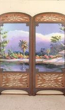 Hand Carved Wooden Dressing Screen With Milk Paint Landscape Panels over Poplar Wood