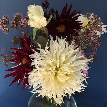 bouquet of dahlia, rose, thyme