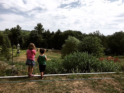 grandkids overlooking farm