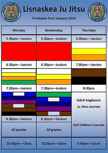 Lisnaskea Ju Jitsu Timetable January 202