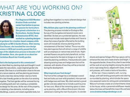KCGD 'Bat Friendly' garden article in November's Garden Design Journal