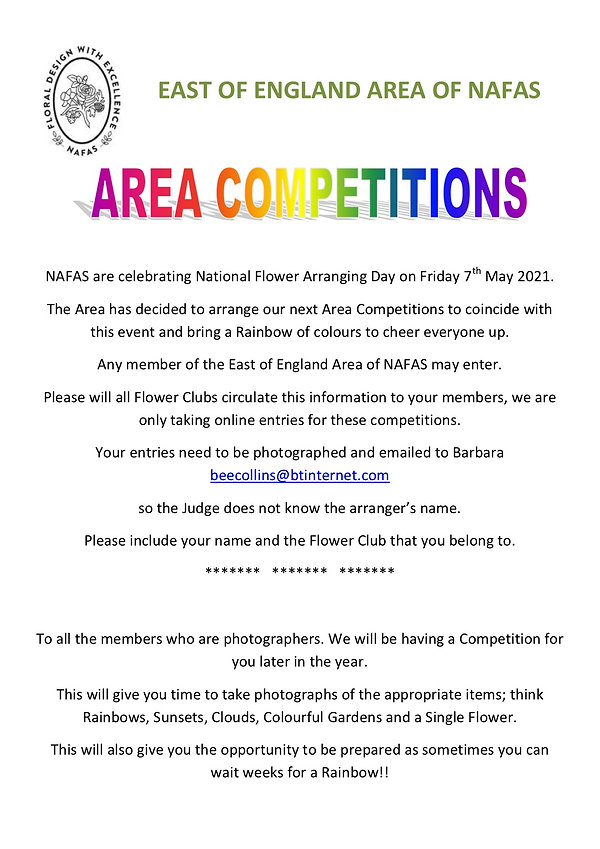 AREA COMPETITIONS - NATIONAL FLOWER ARRA
