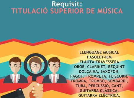 Joventuts Musicals de la Vall d'Albaida Obri la Borsa de Treball per al Curs 2018/19