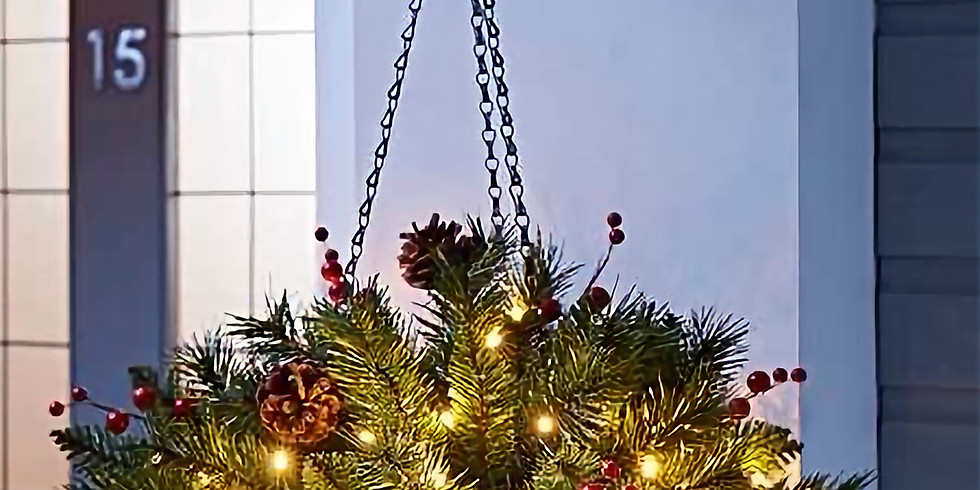 Lighted Holiday Hanging Basket