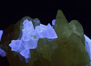 Calcite and Sulfur from the Maybee Quarry, Maybee, Michigan