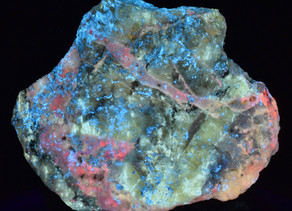 Fluorite, Calcite and Hydrozincite; Minerva No. 1 Mine, Cave-In-Rock, Illinois