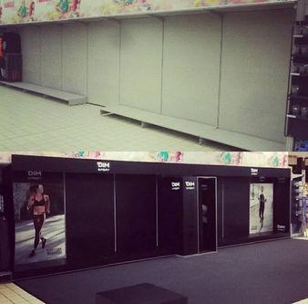 Réalisation stand pour DIM dans les magasins Carrefour Belgique