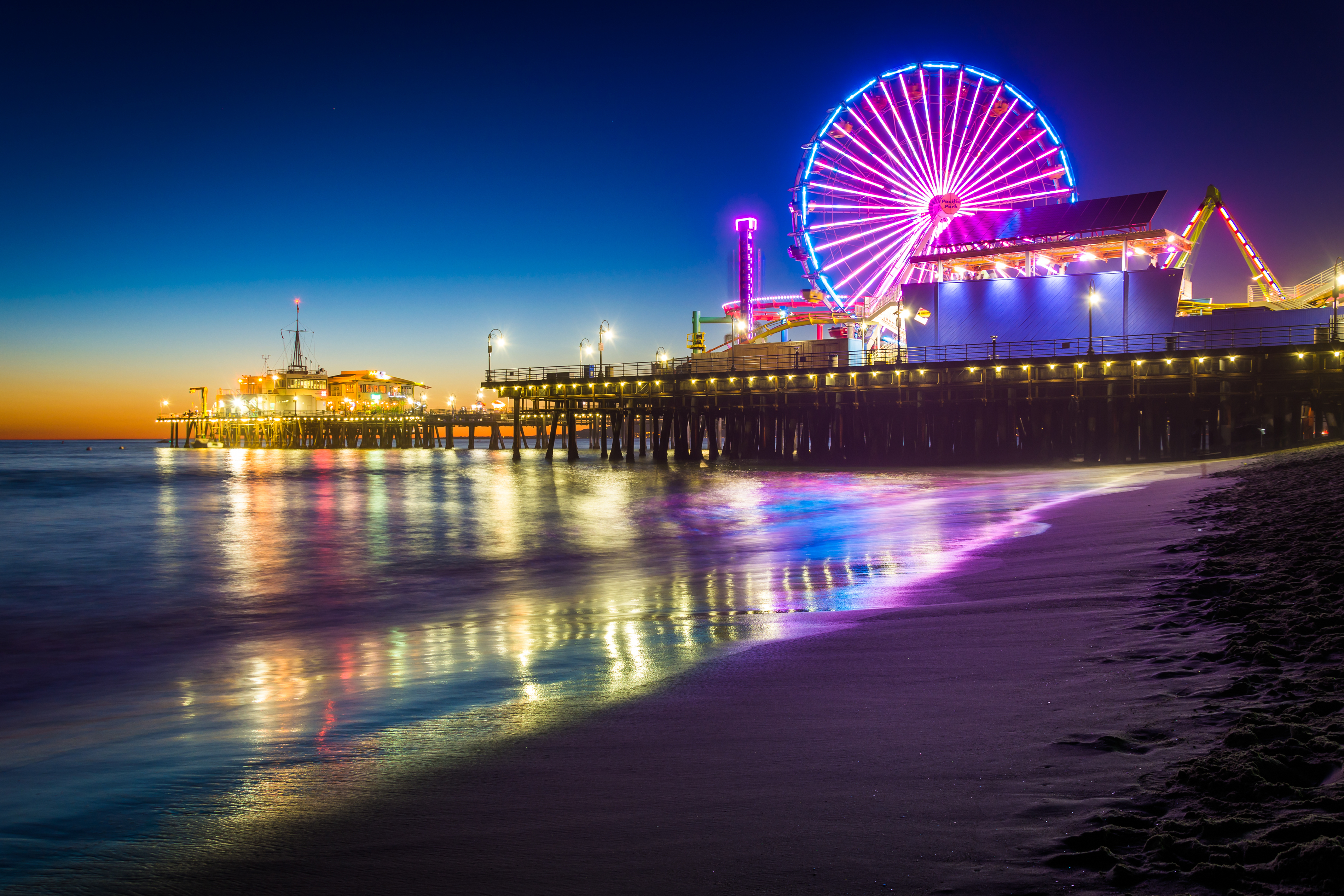 The Santa Monica Pier at night, in Santa