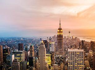 New York City skyline with urban skyscra