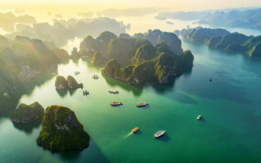 Aerial view floating fishing village and
