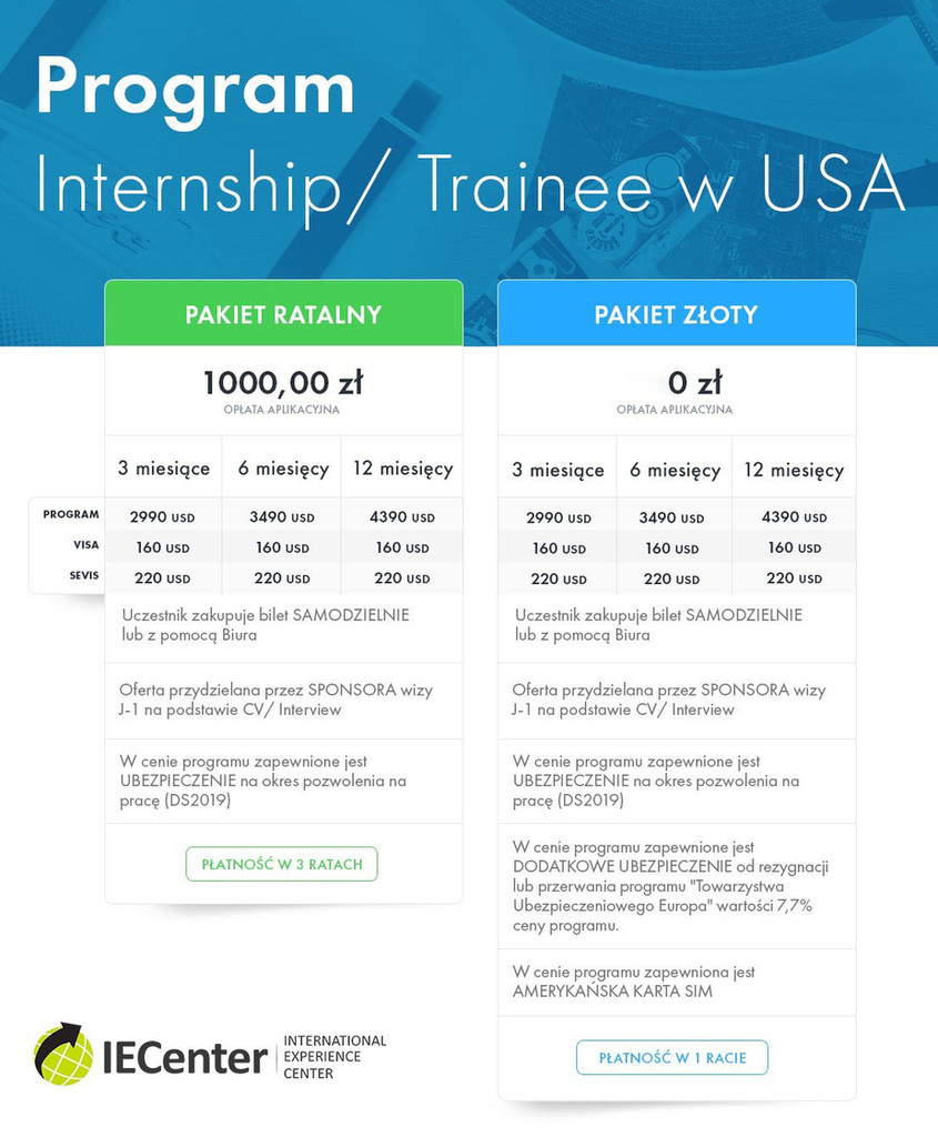 internship trainee nowy cennik od 15 lip