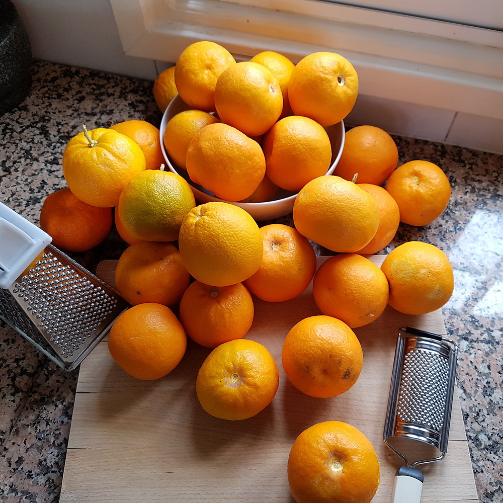 bitter oranges on the worktop