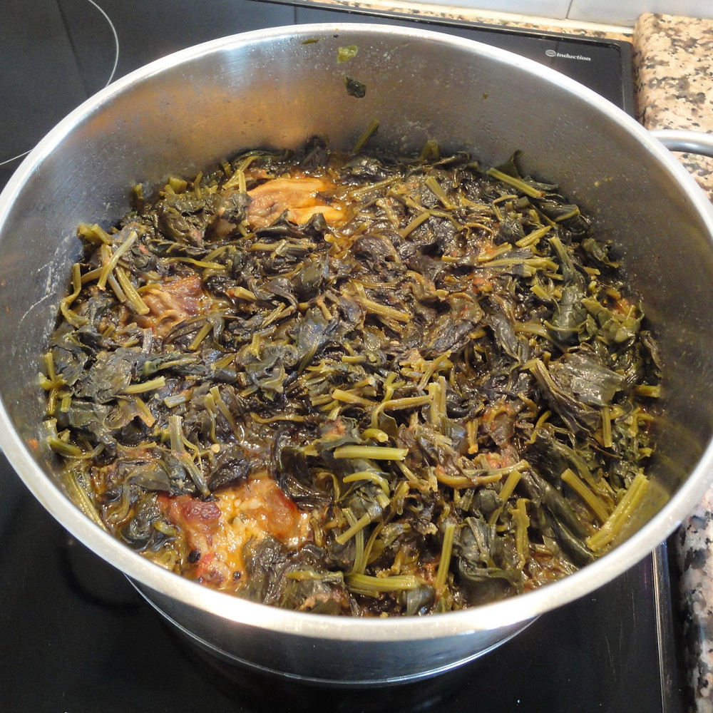 meat and spinach are well cooked and ready