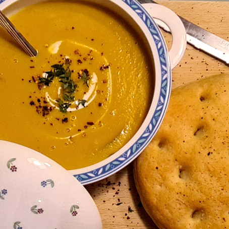 Pumpkin soup with focaccia