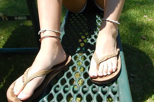 Rebecca's Worn Rainbow Sandals