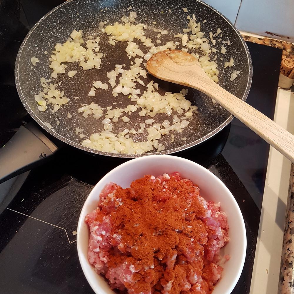 fry onion in frying pan