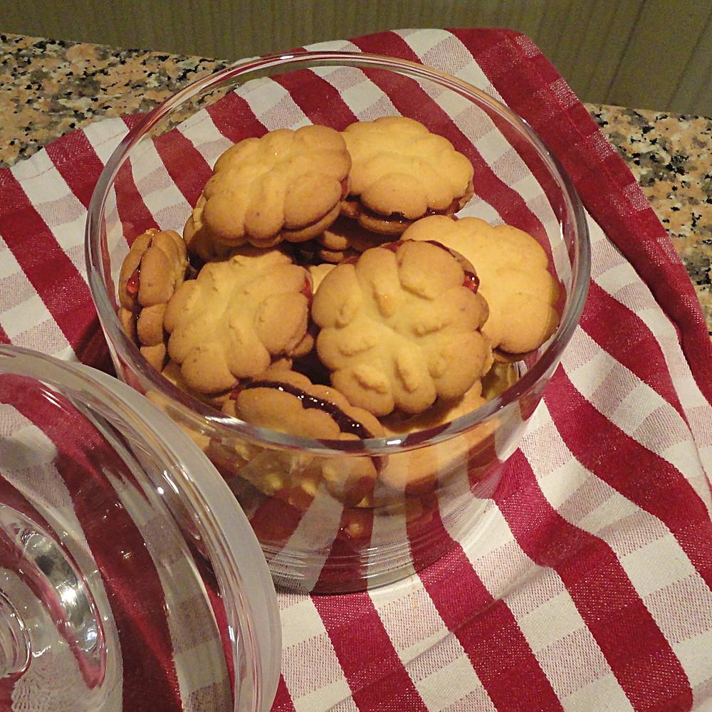 Koulourakia in glass biscuit jar.