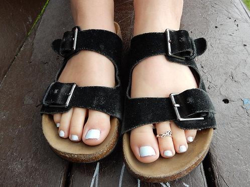 Elise's Worn Canvas Strap Sandals