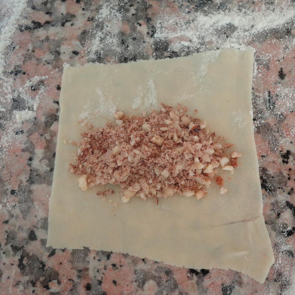 almond mixture on pastry sheet