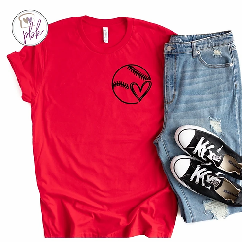 BASEBALL HEART- POCKET TEE