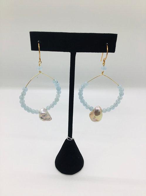 Aquamarine + Pearl Earrings