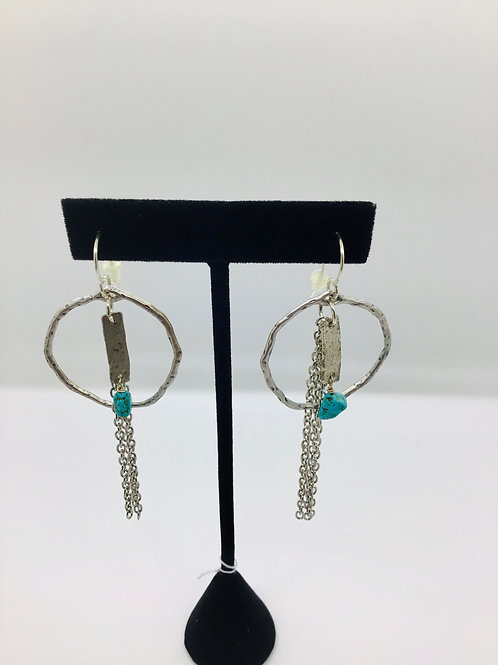 Turquoise + Hoop Earrings