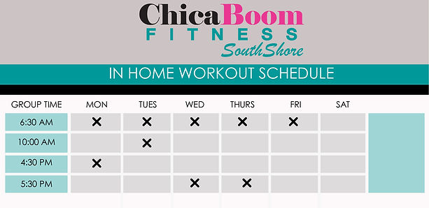 ChicaBoom Fitness In Home Class Schedule
