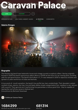 Photo de la page Spotify du groupe Caravan Palace