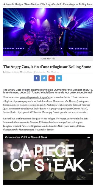 "projet ""The Angry Cats"" sur le site de Rolling Stone"